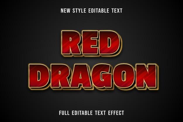 Efecto de texto editable rojo dragón color rojo y dorado