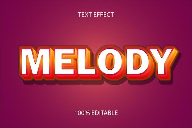 Efecto de texto editable rojo melodía color naranja