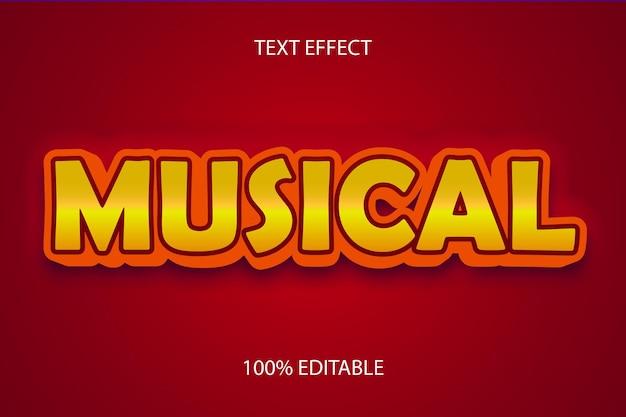 Efecto de texto editable rojo naranja musical color