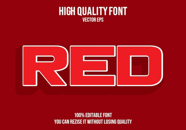 Efecto de texto editable rojo