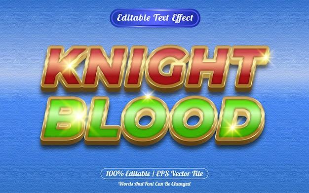 Efecto de texto editable de sangre de caballero tema dorado