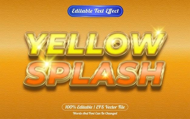 Efecto de texto editable splash amarillo tema dorado
