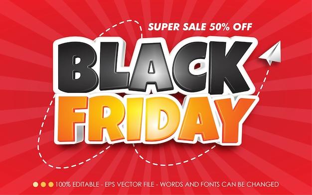 Efecto de texto editable, super venta black friday 50% de descuento en estilo
