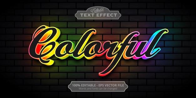Efecto de texto editable, texto de arco iris