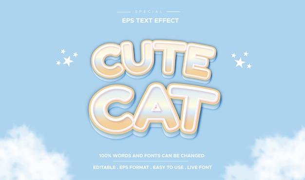 Efecto de texto editable de texto de dibujos animados lindo gato