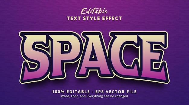 Efecto de texto editable, texto de espacio en el efecto de estilo de juego de título