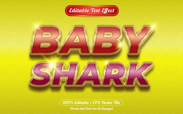 Efecto de texto editable de tiburón bebé tema dorado