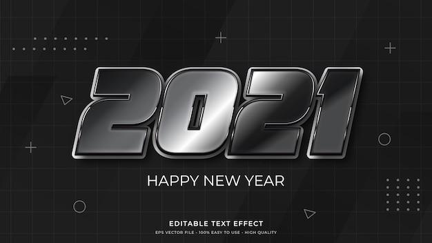 Efecto de texto editable de tipografía de año nuevo 2021