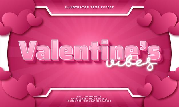 Efecto de texto editable de valentine's vibes