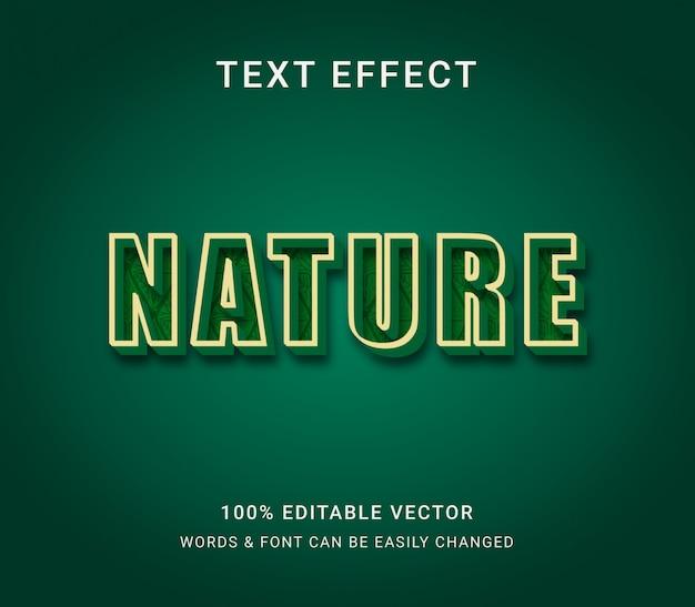 Efecto de texto editable verde de la naturaleza