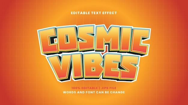 Efecto de texto editable de vibraciones cósmicas en estilo moderno 3d