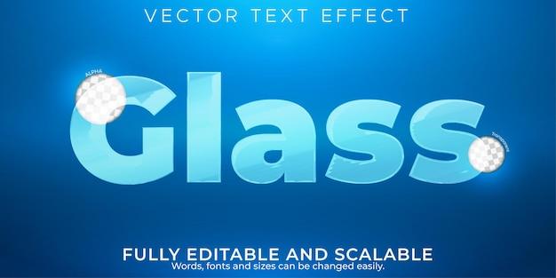 Efecto de texto editable de vidrio, estilo de texto transparente y limpio