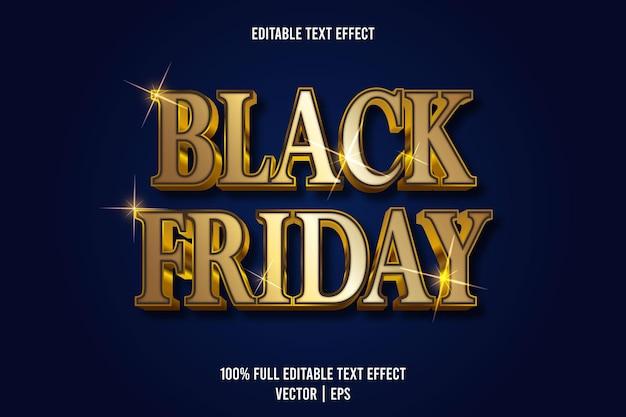 Efecto de texto editable de viernes negro 3 dimensiones en relieve estilo de lujo