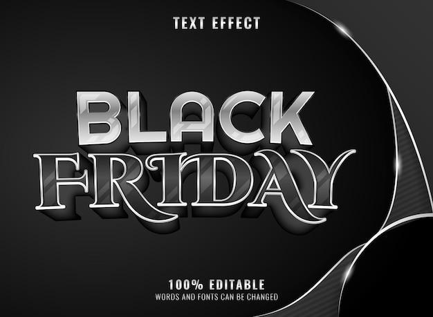 Efecto de texto editable de viernes negro de lujo de plata negra
