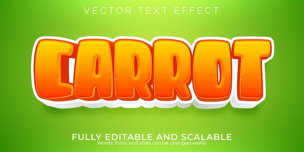 Efecto de texto editable de zanahoria, comida y estilo de texto orgánico