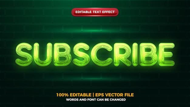 Efecto de texto editbale 3d de suscripción de resplandor de neón