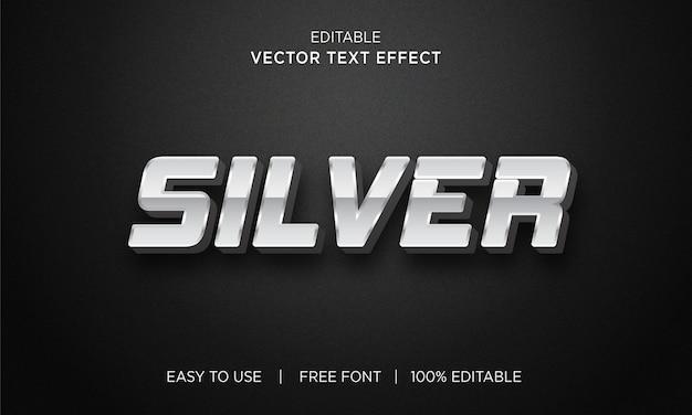 Efecto de texto de efecto de texto editable de plata 3d
