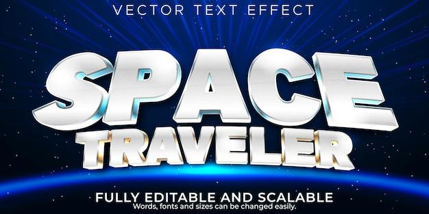Efecto de texto espacial, galaxia editable y estilo de texto retro