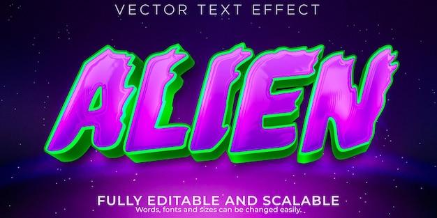 Efecto de texto de espacio extraterrestre editable estilo de texto de ovni y galaxia