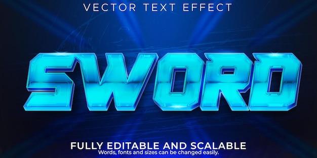 Efecto de texto de espada, estilo de texto editable metálico y futuro Vector Premium