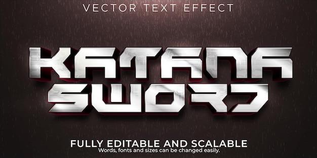 Efecto de texto de espada katana samurai editable y estilo de texto marcial