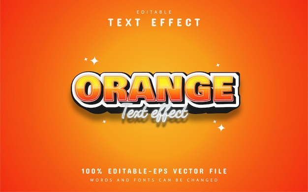 Efecto de texto de estilo editable naranja