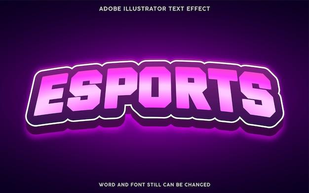 Efecto de texto de estilo esports con color púrpura