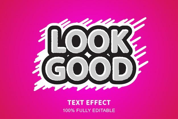 Efecto de texto de estilo de etiqueta blanca y negra, texto editable