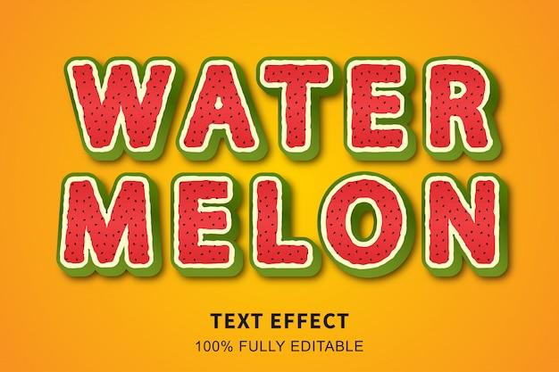Efecto de texto de estilo de fruta de sandía fresca, texto editable
