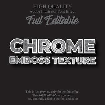 Efecto de texto de estilo gráfico editable de textura de cromo