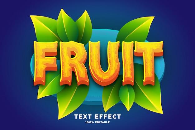 Efecto de texto de estilo de juego de frutas