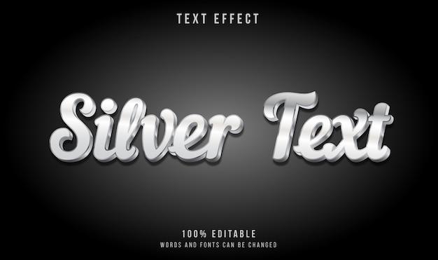 Efecto de texto de estilo moderno 3d plateado