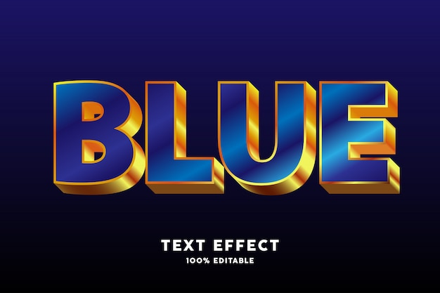 Efecto de texto estilo oro azul brillante