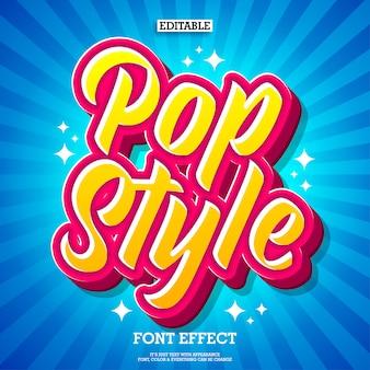 Efecto de texto de estilo pop colorido