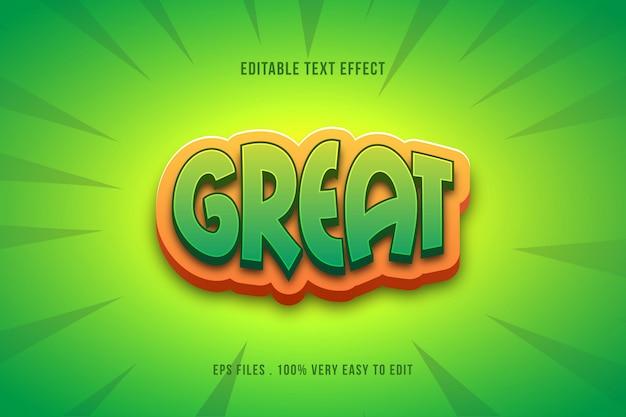 Efecto de texto de estilo pop cómico verde