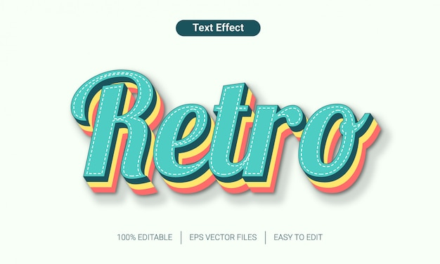 Efecto de texto de estilo retro alfabeto 3d