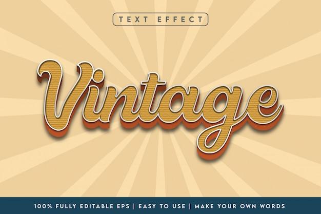 Efecto de texto de estilo vintage 3d en esquema de color marrón
