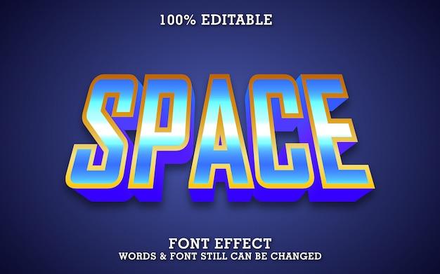 Efecto de texto de etiqueta espacial, plantilla de tipografía moderna