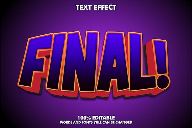 Efecto de texto de la etiqueta final texto editable de color morado oscuro