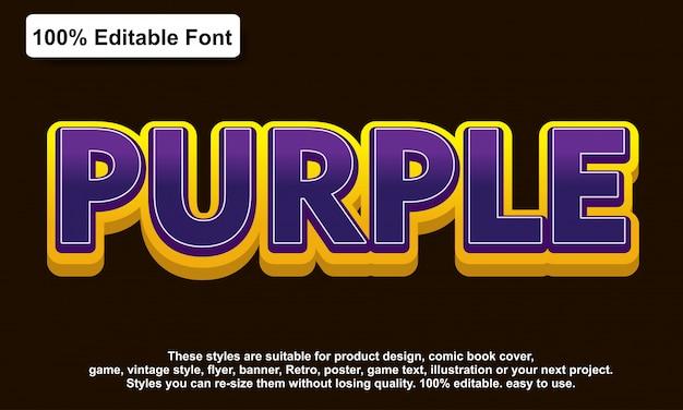 Efecto de texto de etiqueta púrpura