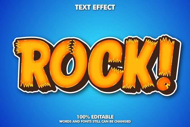 Efecto de texto de etiqueta de rock, efecto de texto de dibujos animados modernos