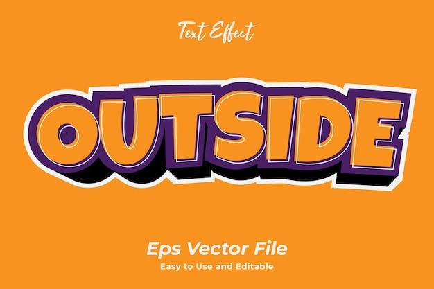 Efecto de texto exterior fácil de usar y editable vector premium