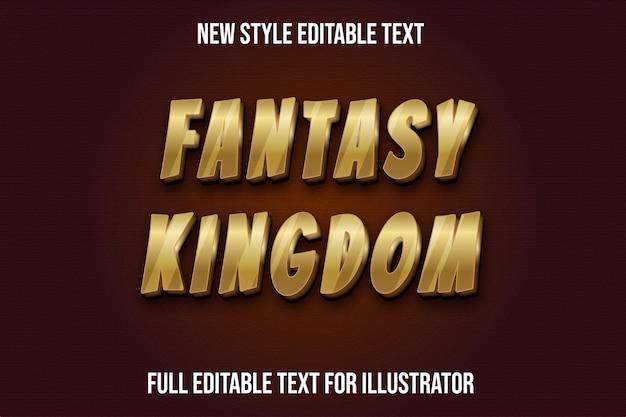 Efecto de texto fantasía reino color oro y marrón degradado