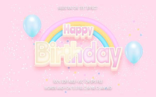 Efecto de texto de feliz cumpleaños sobre fondo rosa