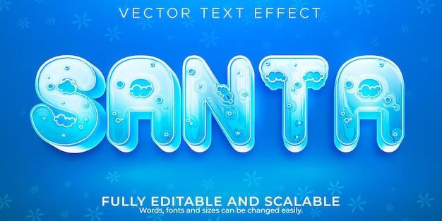 Efecto de texto de feliz navidad, estilo de texto editable de santa y año nuevo