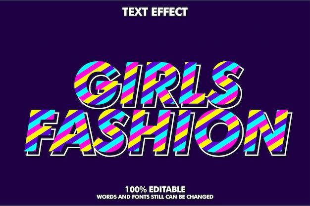 Efecto de texto femenino encantador y colorido