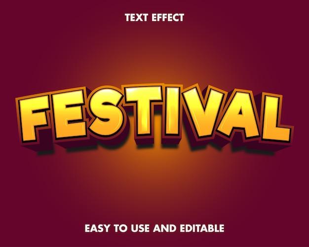 Efecto de texto del festival. estilo de fuente editable.