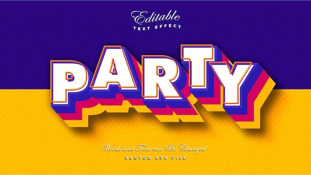 Efecto de texto de fiesta en negrita 3d