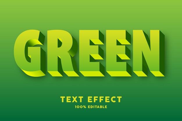 Efecto de texto fresco amarillo verde 3d