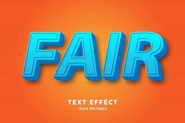 Efecto de texto fresco azul 3d